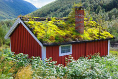 Autumn Norway landscape with hut Royalty Free Stock Photo