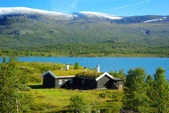 Autumn Norway landscape with huts Stock Photography