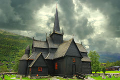 Autumn Norway landscape with stavkirke Royalty Free Stock Images