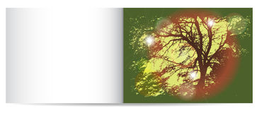 Autumn nostalgy card with silhouette of tree. Black silhouette of tree on a green background with light reflections of the sun Royalty Free Stock Photography