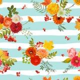 Autumn Nture Seamless Pattern Fond floral avec des feuilles et des fleurs d'érable Photos stock
