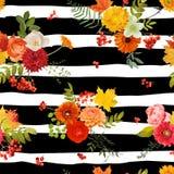 Autumn Nture Seamless Pattern Fond floral avec des feuilles et des fleurs d'érable Photographie stock