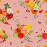 Autumn Nture Seamless Pattern Fond floral avec des feuilles et des fleurs d'érable Image stock