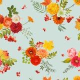Autumn Nture Seamless Pattern Fond floral avec des feuilles et des fleurs d'érable Photos libres de droits