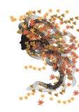 Autumn nymph. Color portrait of autumn nymph vector illustration