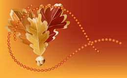 Autumn Oak and acorn beads. Oak leaves and acorns with a metallic brass look and beads on a dark orange background Royalty Free Stock Image