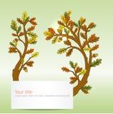 Autumn Oak lämnar banret stock illustrationer