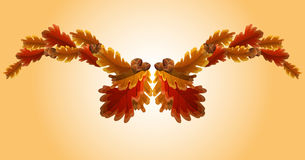 Autumn oak leaf and acorn garland. Autumn oak leaves and acorns in warm colors Royalty Free Stock Images