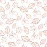Autumn oak leaves pattern. Seamless pattern of acorns and autumn oak leaves. Vector vector illustration