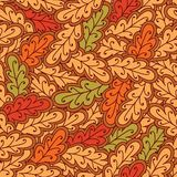 Autumn oak leaves seamless pattern. Vector format stock illustration