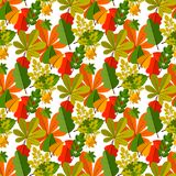 Autumn oak leaves seamless pattern nature vector illustration. Season textile wallpaper Orange, Beige, Brown and Yellow. Perfect for gift paper, pattern fills stock illustration