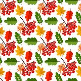 Autumn oak leaves seamless pattern nature vector illustration. Season textile wallpaper Orange, Beige, Brown and Yellow. Perfect for gift paper, pattern fills vector illustration