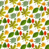 Autumn oak leaves seamless pattern nature vector illustration. Season textile wallpaper Orange, Beige, Brown and Yellow. Perfect for gift paper, pattern fills royalty free illustration