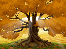 Autumn oak tree with golden sun beams. Digital illustration of an old oak tree in the autumn with sun rays beaming through the branches Royalty Free Stock Photos