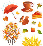 Autumn objects. Illustration of autumn design elements, isolated on white Royalty Free Stock Photography