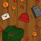 Autumn objects on the wood background. Autumn object for your design. Wooden background Stock Image