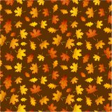Autumn ocher pattern with orange leaves. Royalty Free Stock Images