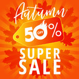 Autumn 50% off super sale banner. Autumn Sale banner with label tag 50% offer on stripes and red leaves. Vector illustration Royalty Free Stock Images
