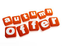 Autumn offer - text in orange cubes Stock Photography
