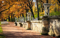 Autumn in old park. The Catherine Park, Pushkin  Tsarskoe Selo , Saint-Petesrburg, Russia Stock Image