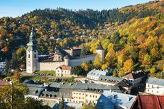 Autumn in old town with historical buildings in Banska Stiavnica Royalty Free Stock Photos