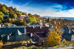Autumn in old town with historical buildings in Banska Stiavnica Royalty Free Stock Photo