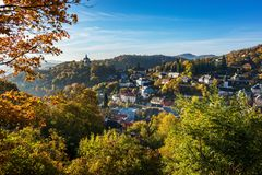 Autumn in old town with historical buildings in Banska Stiavnica Stock Image