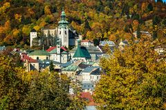 Autumn in old town with historical buildings in Banska Stiavnica Stock Images