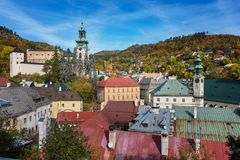Autumn in old town with historical buildings in Banska Stiavnica Stock Photography