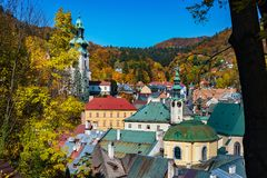 Autumn in old town with historical buildings in Banska Stiavnica Royalty Free Stock Photography