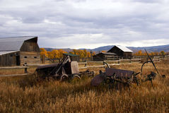 Autumn,  old western farm buildings Royalty Free Stock Image