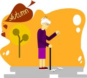 Autumn. the old woman feeds pigeons stock illustration