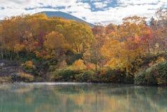 Autumn Onsen Lake Aomori Japan Royaltyfria Bilder