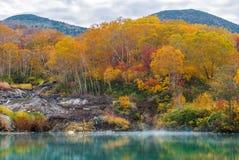 Autumn Onsen Lake Aomori Japan Royaltyfri Foto