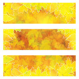 Autumn orange banners with colorful leaves Royalty Free Stock Photo