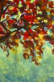 Autumn orange foliage of autumn tree - oil painting royalty free stock image
