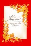 Fall leaves orange card Royalty Free Illustration