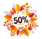 Autumn orange leaves vector splash frame with 50 percents discount offer.  stock illustration
