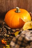 Autumn orange pumpkin and leaves. Autumn orange pumpkin and yellow leaves, plaid on the wooden brown background royalty free stock photography