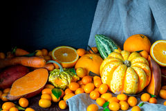 Autumn Orange Vegetables and Fruits, Beautiful Nature Background, Toned Picture Stock Photo