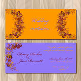 Autumn orange wild grape wedding invitation card. Printable vector illustration Stock Photography