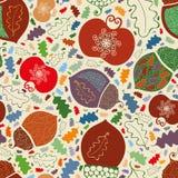 Autumn Orchard Apples och ekollonar royaltyfri illustrationer