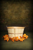 Autumn Orchard Basket. Fruit Basket adorned with fall leaves, can be used as a digital photography prop royalty free stock image