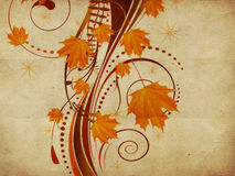 Autumn ornament with maple leaves Stock Images