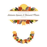 Autumn Ornaments - Leaves and Harvest Moon  (1) Royalty Free Stock Photography