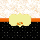 Autumn ornate frame greeting card. With seamless pattern background Stock Photo