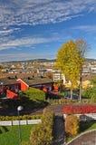 Autumn Oslo met historische huizen op Lindeberg stock fotografie
