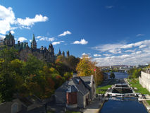 Autumn Ottawa. Rideau canal and Canadian parliament in autumn Stock Images