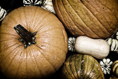 Autumn Outdoor Decor - nostalgic 5. Autumn decor. Pumpkins, squash, gourds, and hay arranged in a pleasing fall outdoor display. Bleached nostalgic processing stock images