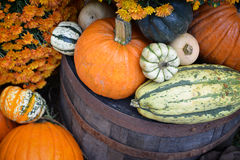 Autumn Outdoor Decor - vibrant 6. Autumn decor. Pumpkins, squash, gourds, and hay arranged in a pleasing fall outdoor display on top of a old wine or whiskey stock photos